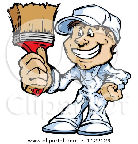 Clipart Happy Painter Guy Holding Out A Brush - Royalty Free ...
