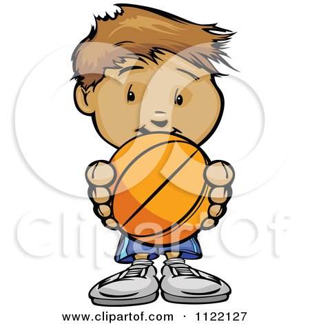 Cartoon Of A Cute Boy Holding A Basketball - Royalty Free Vector Clipart by Chromaco