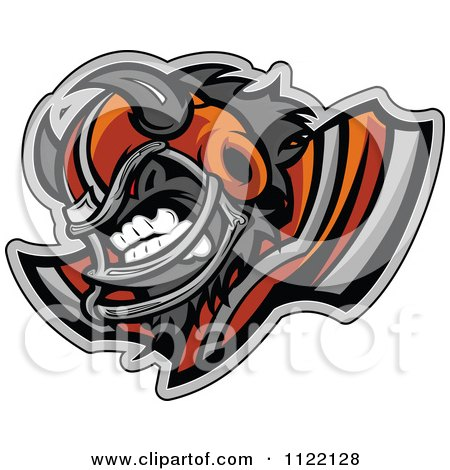 Clipart Of A Competitive Buffalo Football Player Mascot With Shoulder Pads - Royalty Free Vector Illustration by Chromaco