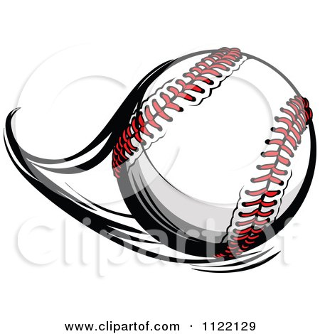 Cartoon Of A Flast Flying Baseball - Royalty Free Vector Clipart by Chromaco