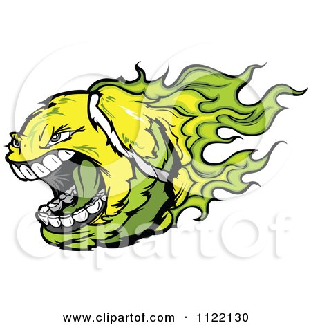Cartoon Of A Screaming Flaming Tennis Ball - Royalty Free Vector Clipart by Chromaco