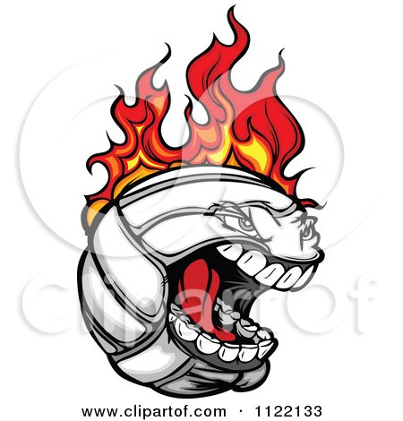 Cartoon Of A Screaming Flaming Volleyball Mascot - Royalty Free Vector Clipart by Chromaco