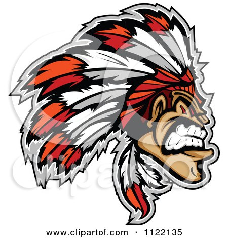 Clipart Of An Aggressive Native American Indian Chief - Royalty Free Vector Illustration by Chromaco