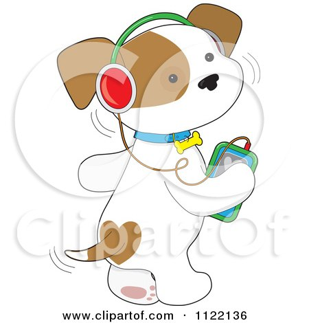 Cartoon Of A Cute Puppy Dog Wagging His Tail And Listening To Music Through An Mp3 Player - Royalty Free Vector Clipart by Maria Bell