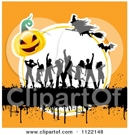 Clipart Of Silhouetted Dancers With Gurnge A Halloween Pumpkin And Witches On Orange - Royalty Free Vector Illustration by KJ Pargeter