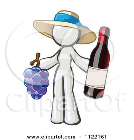 Cartoon Of A White Woman Vintner Wine Maker Wearing A Hat And Holding Grapes And Wine - Royalty Free Vector Clipart by Leo Blanchette