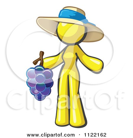 Cartoon Of A Yellow Woman Vintner Wine Maker Wearing A Hat And Holding Grapes - Royalty Free Vector Clipart by Leo Blanchette
