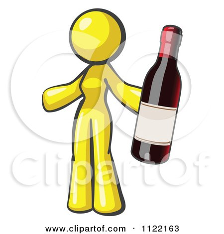 Cartoon Of A Yellow Woman Vintner Holding A Bottle Of Red Wine - Royalty Free Vector Clipart by Leo Blanchette