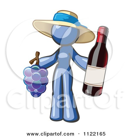 Cartoon Of A Blue Woman Vintner Wine Maker Wearing A Hat And Holding Grapes And Wine - Royalty Free Vector Clipart by Leo Blanchette
