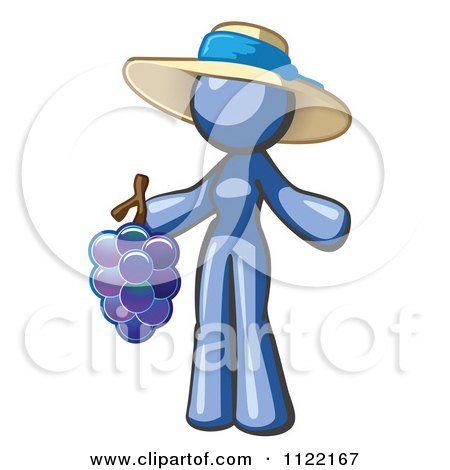 Cartoon Of A Blue Woman Vintner Wine Maker Wearing A Hat And Holding Grapes - Royalty Free Vector Clipart by Leo Blanchette