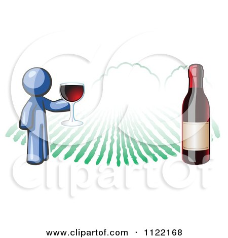 Cartoon Of A Blue Man Wine Tasting At A Winery - Royalty Free Vector Clipart by Leo Blanchette