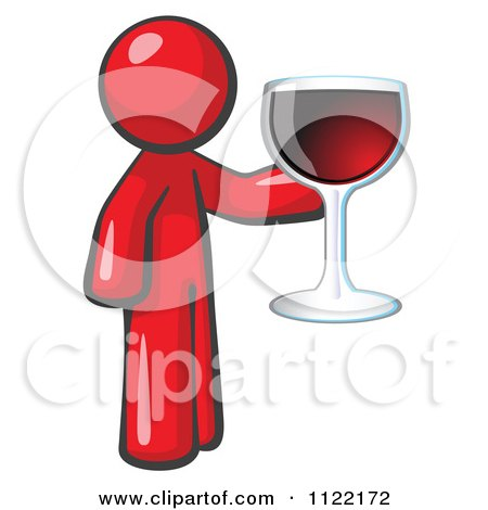 Cartoon Of A Red Man Wine Tasting And Giving A Toast - Royalty Free Vector Clipart by Leo Blanchette