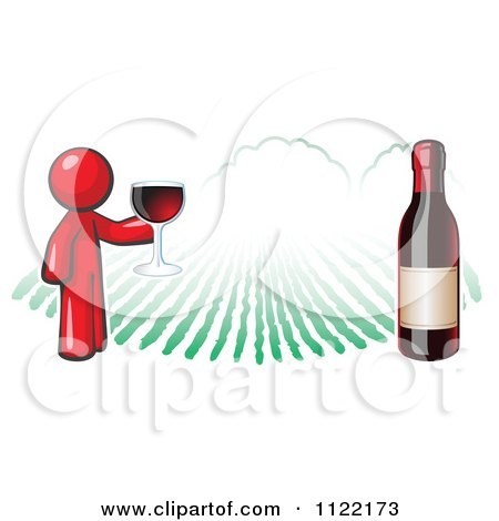 Cartoon Of A Red Man Wine Tasting At A Winery - Royalty Free Vector Clipart by Leo Blanchette