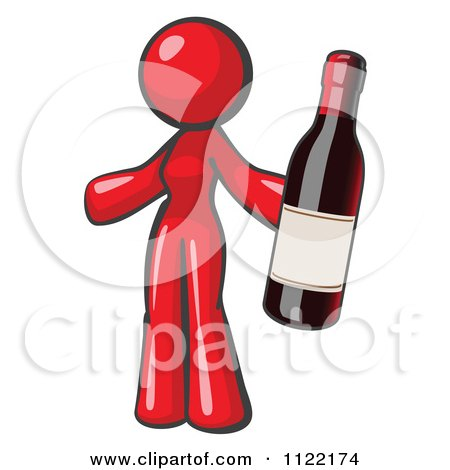 Cartoon Of A Red Woman Vintner Holding A Bottle Of Red Wine - Royalty Free Vector Clipart by Leo Blanchette