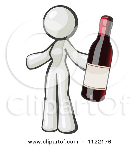 Cartoon Of A White Woman Vintner Holding A Bottle Of Red Wine - Royalty Free Vector Clipart by Leo Blanchette