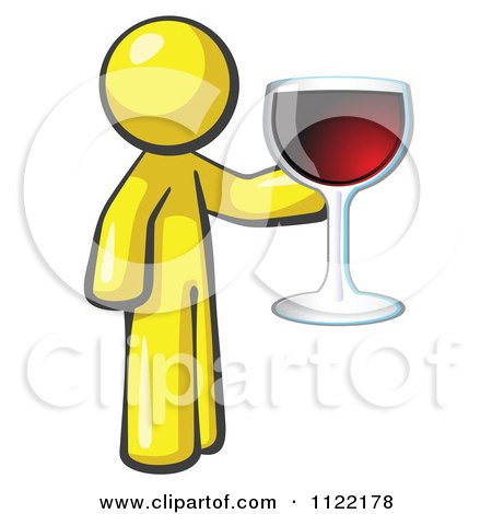 Cartoon Of A Yellow Man Wine Tasting And Giving A Toast - Royalty Free Vector Clipart by Leo Blanchette