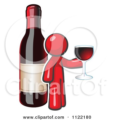 Cartoon Of A Red Man Wine Tasting By A Giant Bottle - Royalty Free Vector Clipart by Leo Blanchette
