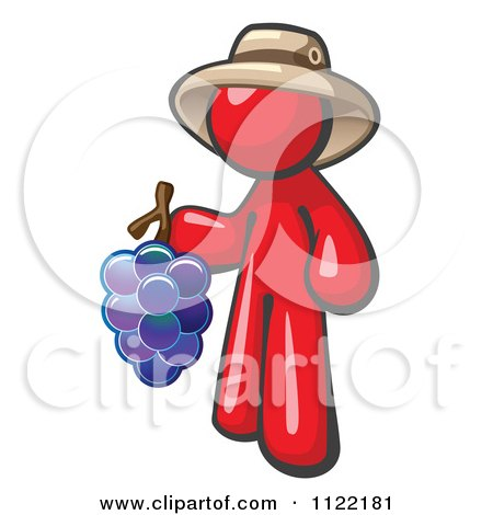 Cartoon Of A Red Man Vintner Wine Maker Wearing A Hat And Holding Grapes - Royalty Free Vector Clipart by Leo Blanchette