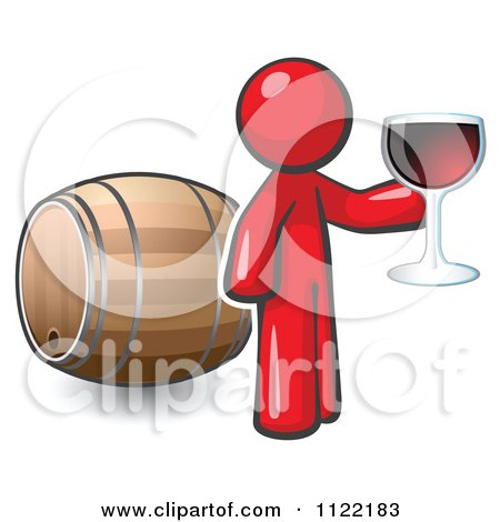 Cartoon Of A Red Man Toasting By A Wine Barrel At A Winery - Royalty Free Vector Clipart by Leo Blanchette