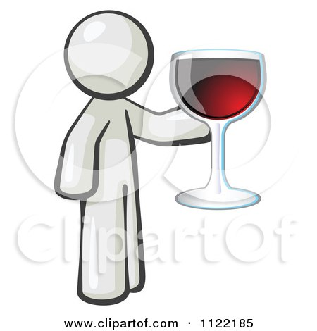 Cartoon Of A White Man Wine Tasting And Giving A Toast - Royalty Free Vector Clipart by Leo Blanchette