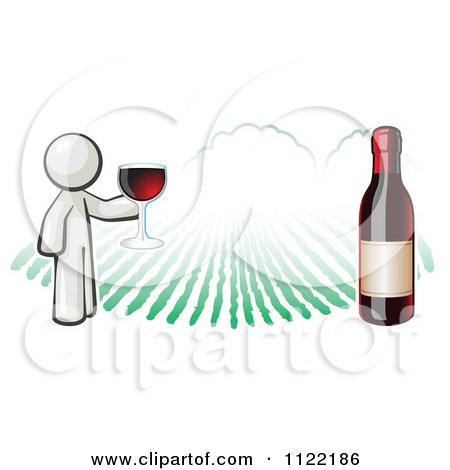 Cartoon Of A White Man Wine Tasting At A Winery - Royalty Free Vector Clipart by Leo Blanchette