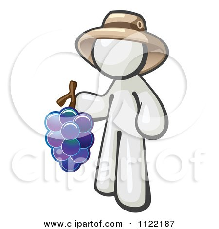 Cartoon Of A White Man Vintner Wine Maker Wearing A Hat And Holding Grapes - Royalty Free Vector Clipart by Leo Blanchette
