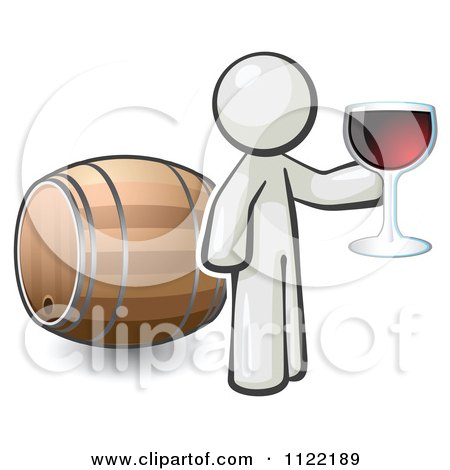 Cartoon Of A White Man Toasting By A Wine Barrel At A Winery - Royalty Free Vector Clipart by Leo Blanchette