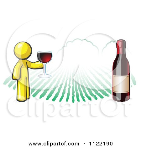 Cartoon Of A Yellow Man Wine Tasting At A Winery - Royalty Free Vector Clipart by Leo Blanchette