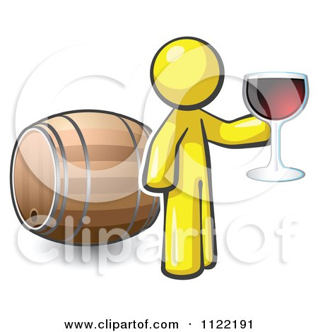 Cartoon Of A Yellow Man Toasting By A Wine Barrel At A Winery - Royalty Free Vector Clipart by Leo Blanchette
