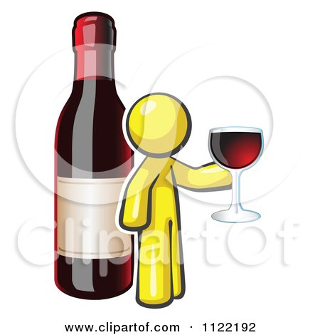 Cartoon Of A Yellow Man Wine Tasting By A Giant Bottle - Royalty Free Vector Clipart by Leo Blanchette