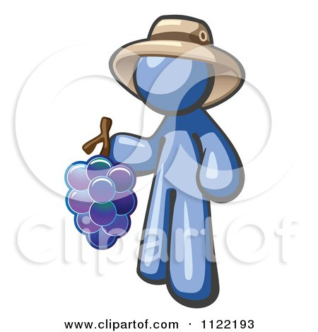 Cartoon Of A Blue Man Vintner Wine Maker Wearing A Hat And Holding Grapes - Royalty Free Vector Clipart by Leo Blanchette