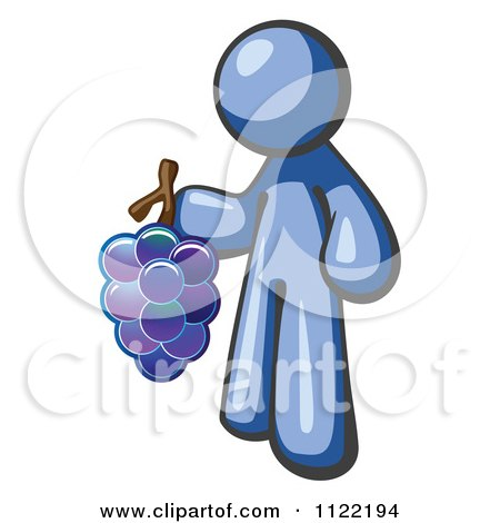 Cartoon Of A Blue Man Vintner Wine Maker Holding Grapes - Royalty Free Vector Clipart by Leo Blanchette