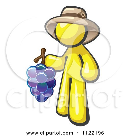 Cartoon Of A Yellow Man Vintner Wine Maker Wearing A Hat And Holding Grapes - Royalty Free Vector Clipart by Leo Blanchette
