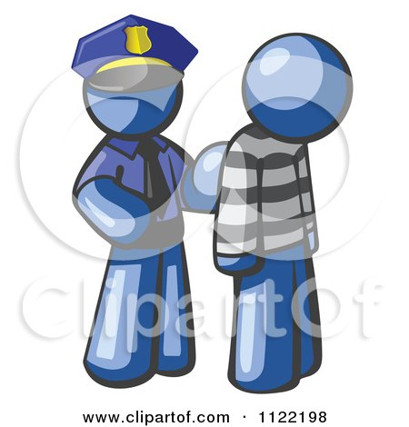 Cartoon Of A Blue Man Police Officer And Prisoner - Royalty Free Vector Clipart by Leo Blanchette