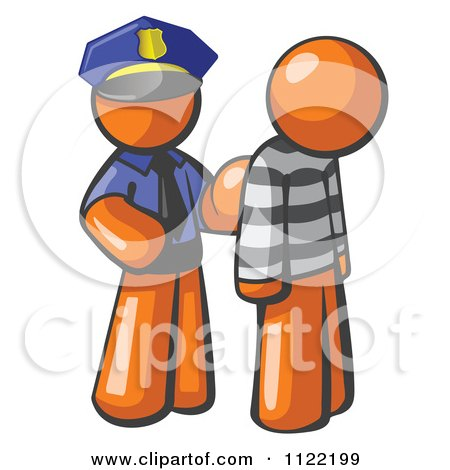 Cartoon Of An Orange Man Police Officer And Prisoner - Royalty Free Vector Clipart by Leo Blanchette