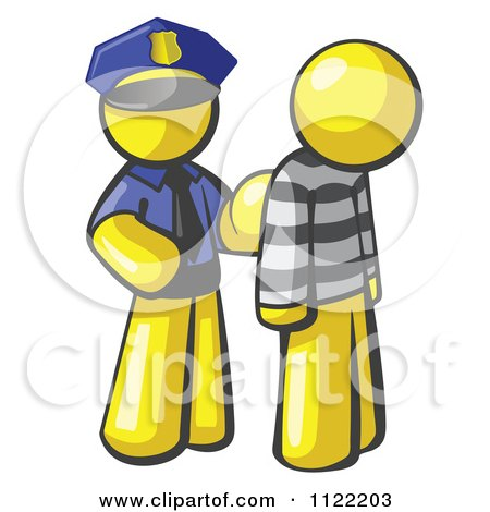 Cartoon Of A Yellow Man Police Officer And Prisoner - Royalty Free Vector Clipart by Leo Blanchette