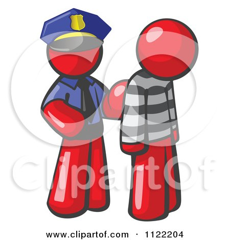 Cartoon Of A Red Man Police Officer And Prisoner - Royalty Free Vector Clipart by Leo Blanchette