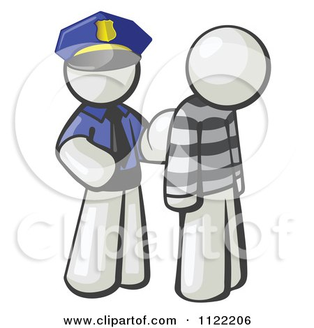 Cartoon Of A White Man Police Officer And Prisoner - Royalty Free Vector Clipart by Leo Blanchette