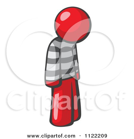 Cartoon Of A Moping Red Man Prisoner - Royalty Free Vector Clipart by Leo Blanchette
