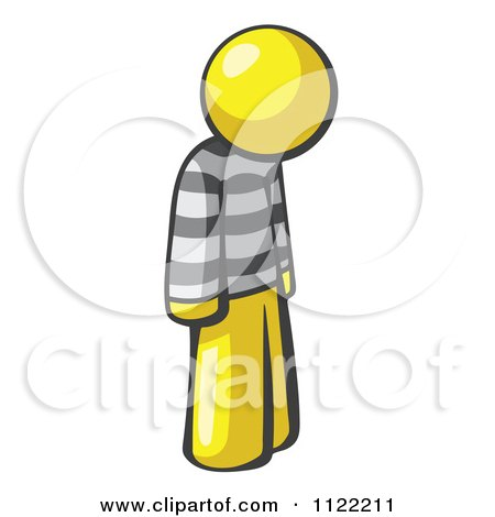 Cartoon Of A Moping Yellow Man Prisoner - Royalty Free Vector Clipart by Leo Blanchette