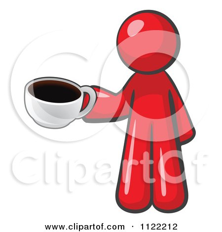 Red Man With A Cup Of Coffee Posters, Art Prints