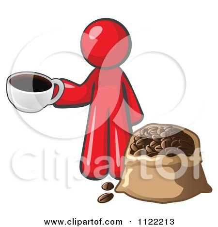 Cartoon Of A Red Man With A Cup Of Coffee Over A Bag Of Beans - Royalty Free Vector Clipart by Leo Blanchette