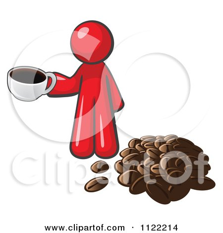 Cartoon Of A Red Man With A Cup Of Coffee By Beans - Royalty Free Vector Clipart by Leo Blanchette