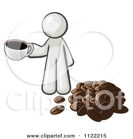 Cartoon Of A White Man With A Cup Of Coffee By Beans - Royalty Free Vector Clipart by Leo Blanchette