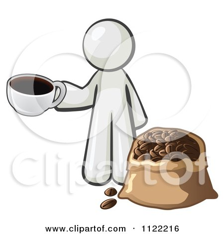 Cartoon Of A White Man With A Cup Of Coffee Over A Bag Of Beans - Royalty Free Vector Clipart by Leo Blanchette