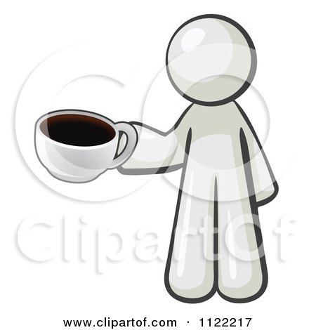 Cartoon Of A White Man With A Cup Of Coffee - Royalty Free Vector Clipart by Leo Blanchette