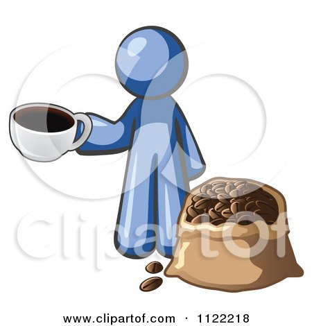 Cartoon Of A Blue Man With A Cup Of Coffee Over A Bag Of Beans - Royalty Free Vector Clipart by Leo Blanchette
