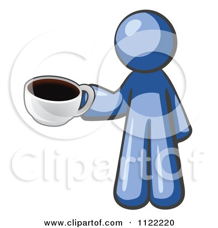 Cartoon Of A Blue Man With A Cup Of Coffee - Royalty Free Vector Clipart by Leo Blanchette