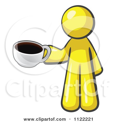 Cartoon Of A Yellow Man With A Cup Of Coffee - Royalty Free Vector Clipart by Leo Blanchette