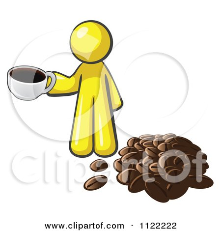 Cartoon Of A Yellow Man With A Cup Of Coffee By Beans - Royalty Free Vector Clipart by Leo Blanchette